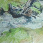 Burbage brook mixed media drawing 2