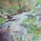 Burbage brook mixed media drawing 5