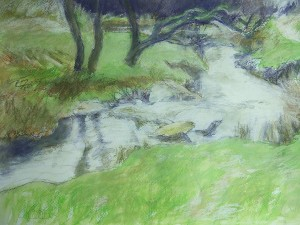 Burbage brook mixed media drawing 1