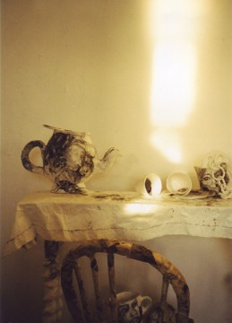 It's always tea-time'  tea table in old studio (magical evening light)