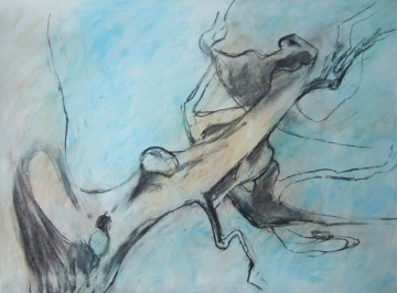 up in the beech branches 1 mixed media drawing